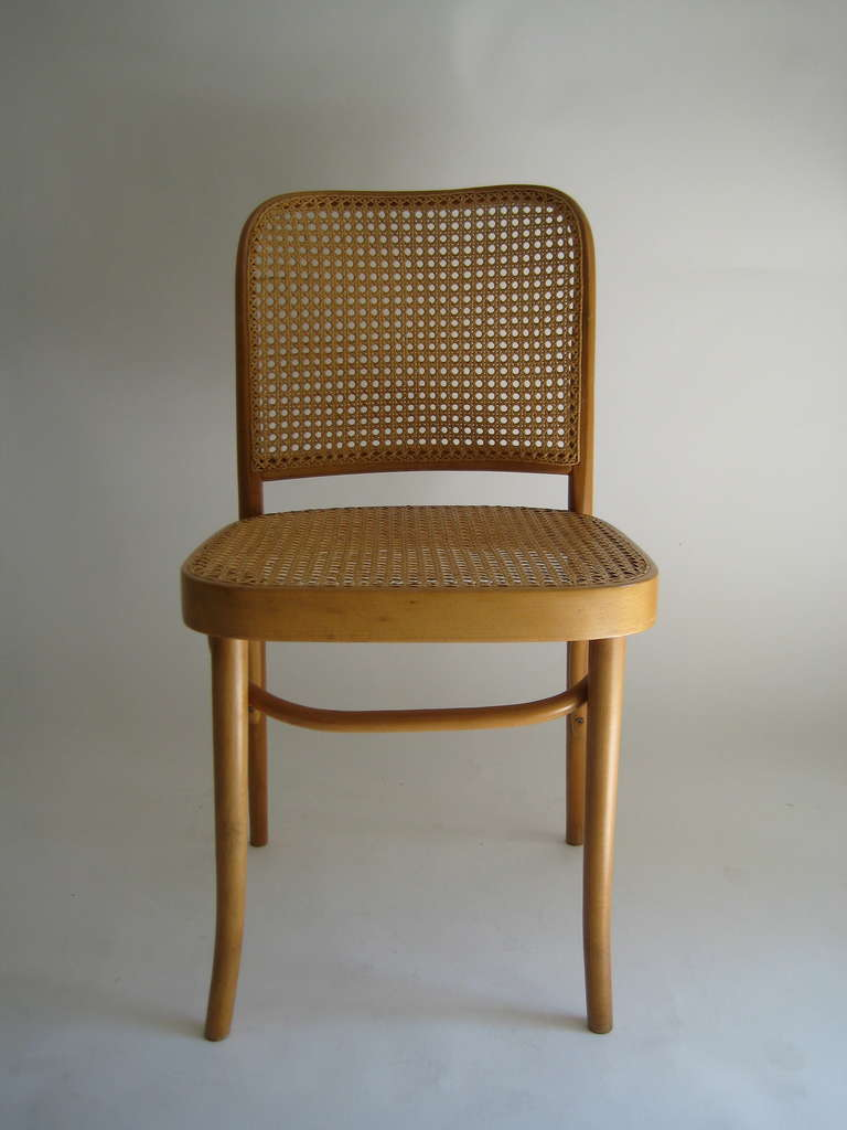 Set of 4 josef hoffmann bentwood and cane chairs poland for Furniture made in poland
