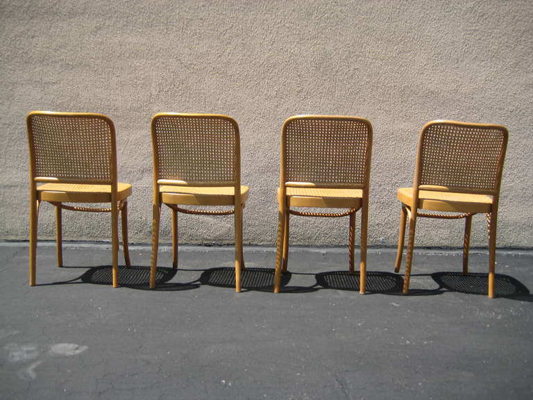 Amazing Polish Set Of 4 Josef Hoffmann Bentwood And Cane Chairs, Poland For Sale