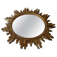 Antique Italian Giltwood Sunburst Mirror