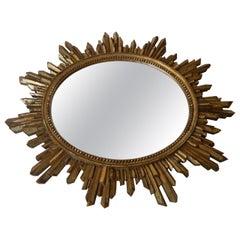 Antique Italian Giltwood Sunburst Mirror
