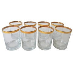 Set of Eight Dorothy Thorpe Glasses with Gold Trim