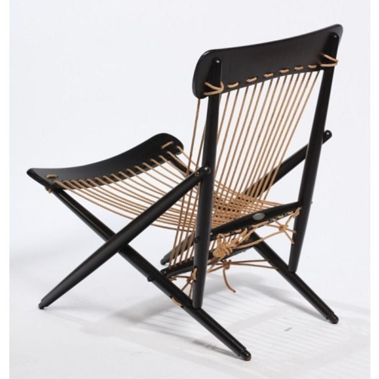 Pair Of Rope Chairs From 1950s, Japan. Metal Tag/makers Mark