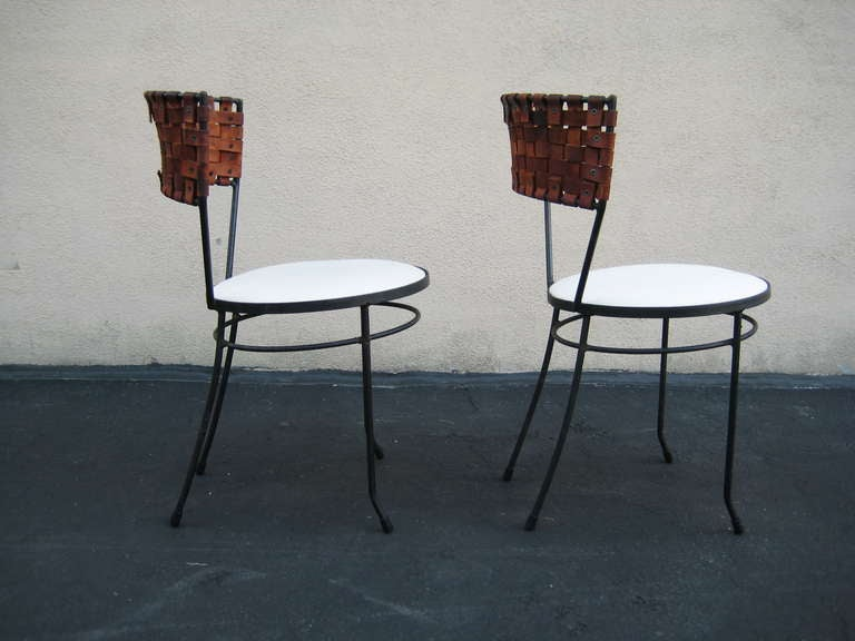 Arthur Umanoff Pair Of Woven Leather And Wrought Iron