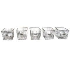 Antique Industrial Metal Locker Baskets