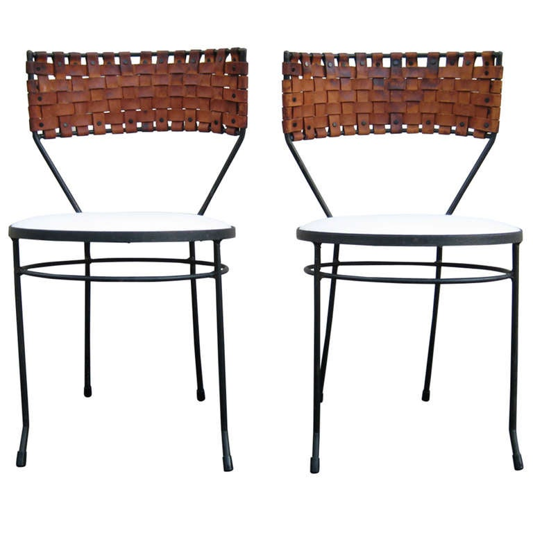 pair woven leather wrought iron chairs circa furniture vintage for sale adelaide gumtree table and ebay