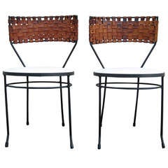 Arthur Umanoff Pair of Woven Leather and Wrought Iron Chairs, circa 1950s