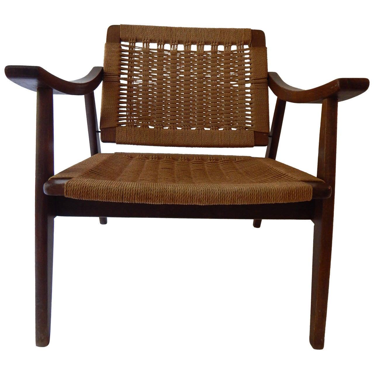 Hans wegner style woven chair at 1stdibs - Hans wegner style chair ...