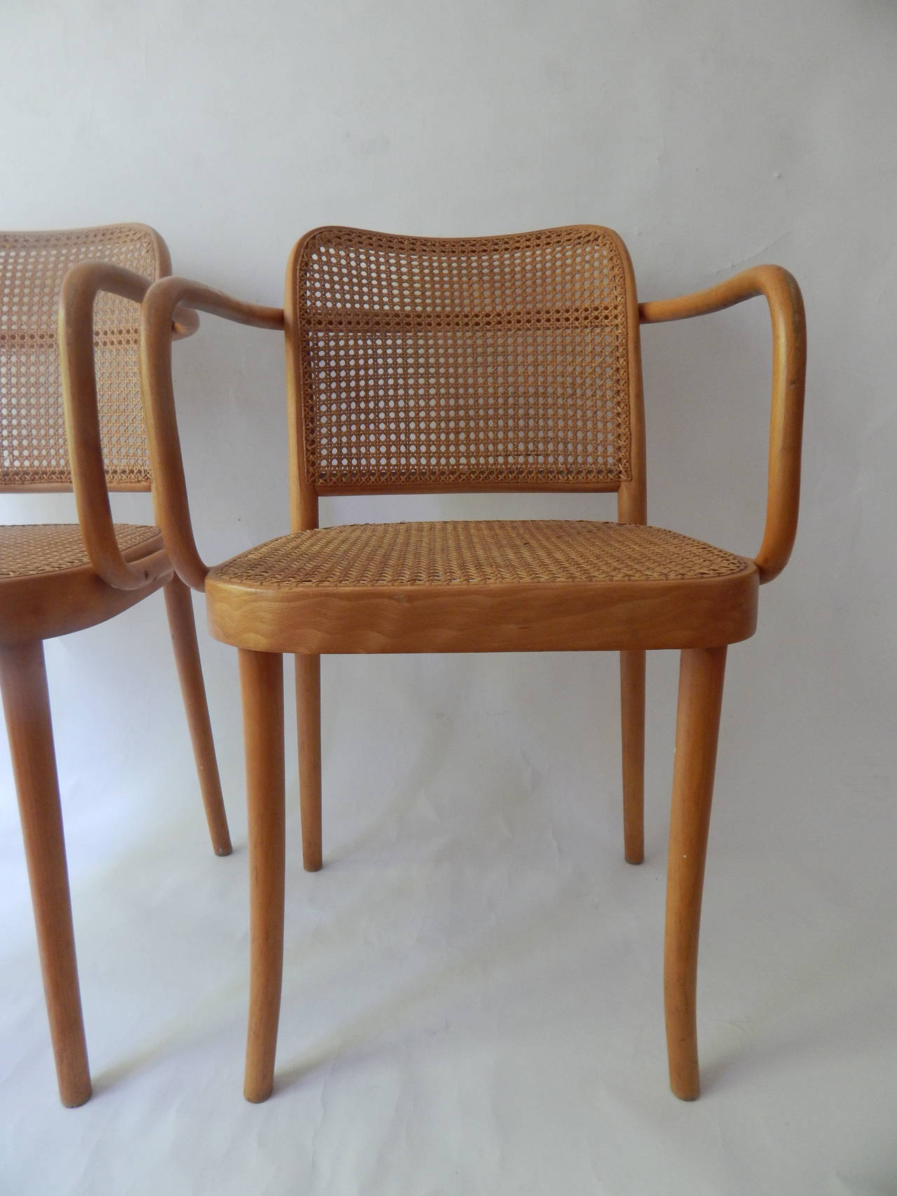 Polish Pair Of Josef Hoffmann Cane Bentwood Chairs For