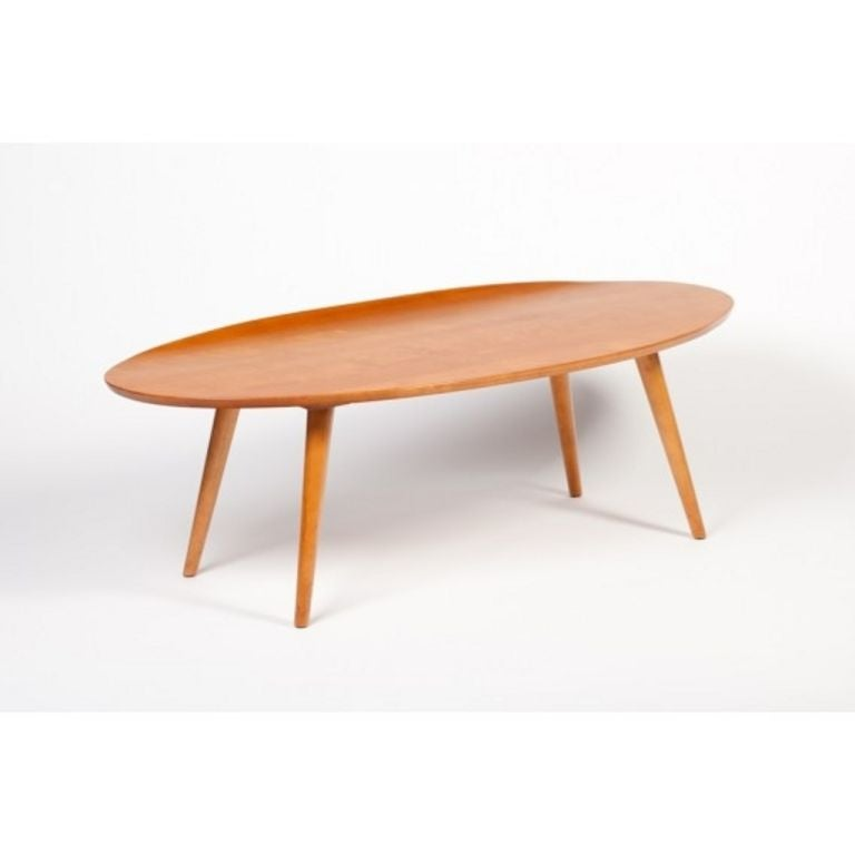 Gorgeous Mid Century 1950s Russell Wright Designed Surfboard Coffee Or  Cocktail Table With Curved Lip