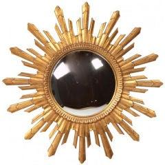 1960s Gilded Sunburst Convex Mirror