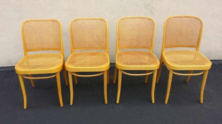 Josef Hoffmann, Czechoslovakia Bentwood And Cane Set Of 6 Chairs 3
