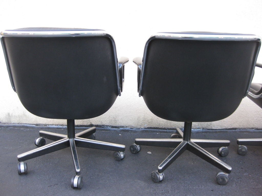 set of 4 charles pollock for knoll black leather office