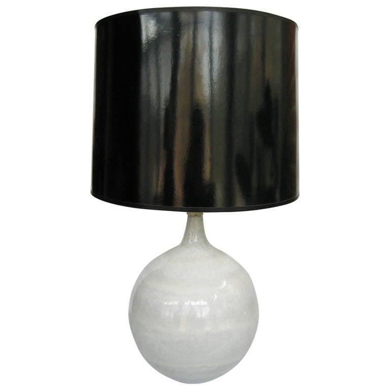 Mid Century Orb Lamp: Mid Century Glazed Ceramic Pottery Orb Globe Lamp For Sale