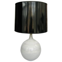 Mid Century Glazed Ceramic Pottery Orb Globe Lamp