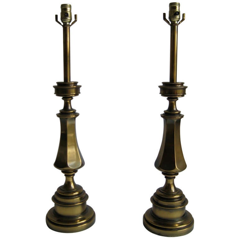 Vintage Stiffel Lamps >> Pair Of Solid Brass Stiffel Lamps For Sale At 1stdibs