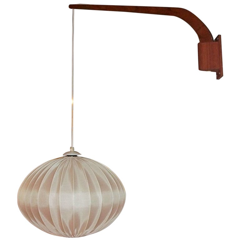Lights Hanging On Wall : 1960s Danish Teak Hanging Wall Lamp at 1stdibs