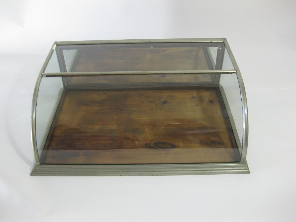 Circa 1900 antique nickel and glass display case cabinet for Antique display cabinet