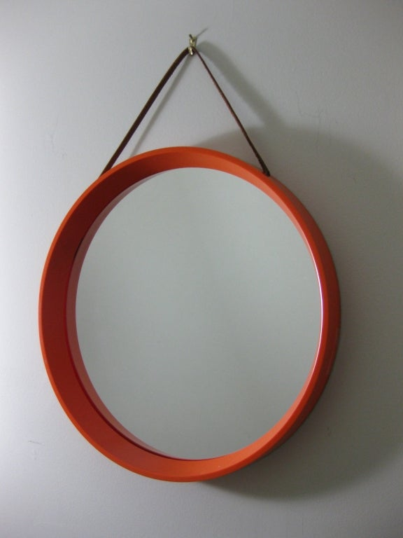 Mid Century Danish Round Orange Mirror With Leather Strap