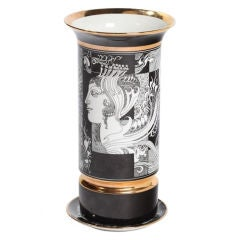 Keramik Vase und Teller, Endre Szasz für Hollohaza