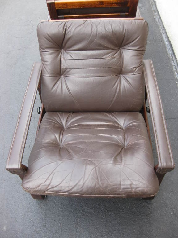 Pair Of Mid Century Chocolate Leather Recliner Club Chairs