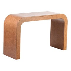 Waterfall Console with Faux Leather Laminate
