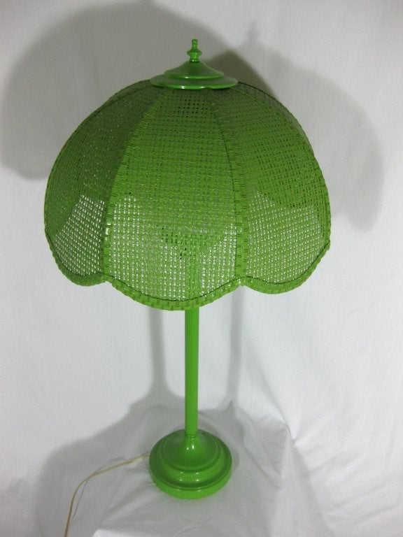1960s lime green enameled metal table lamp with wicker shade at. Black Bedroom Furniture Sets. Home Design Ideas