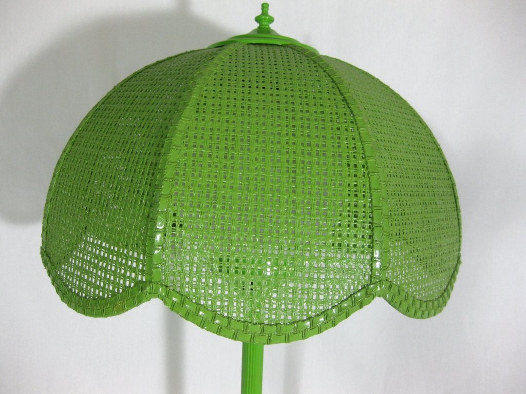 1960s lime green enameled metal table lamp with wicker. Black Bedroom Furniture Sets. Home Design Ideas