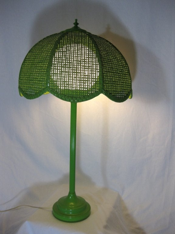 1960s Lime Green Enameled Metal Table Lamp With Wicker