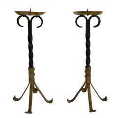 Antique Brass and Wrought Iron Candlesticks, Germany