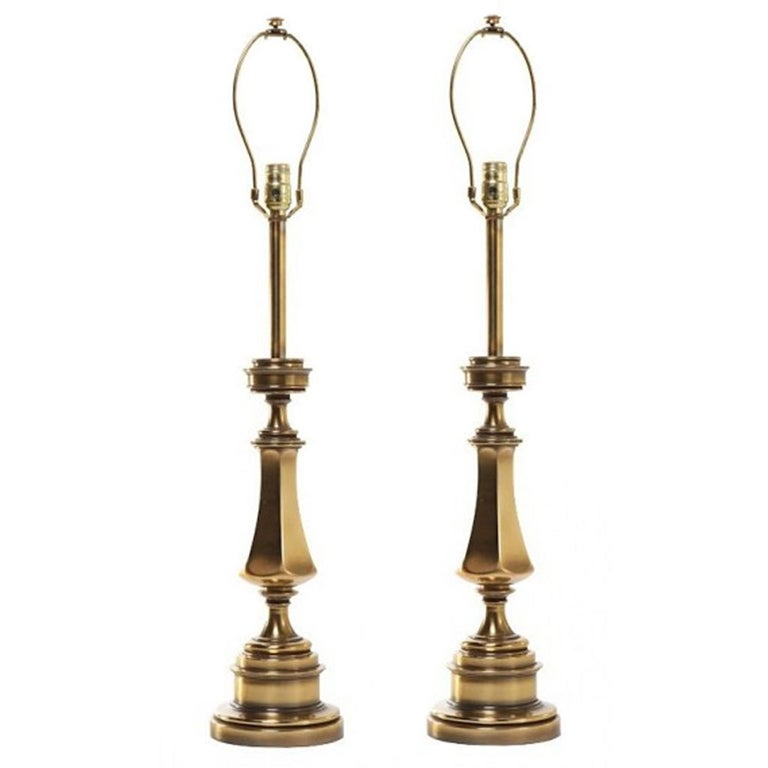 mid century pair of stiffel solid brass table lamps at 1stdibs. Black Bedroom Furniture Sets. Home Design Ideas