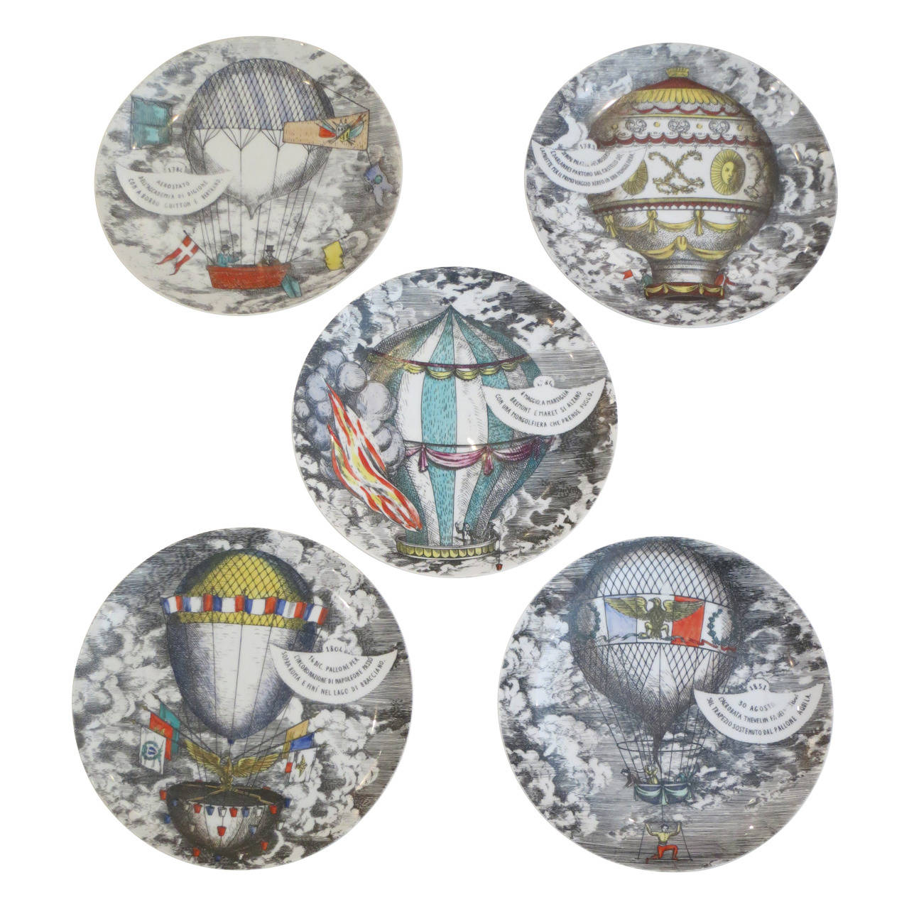 set of fornasetti mongolfiere plates at 1stdibs
