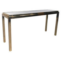 Brass Console Table With Beveled Mirror Top