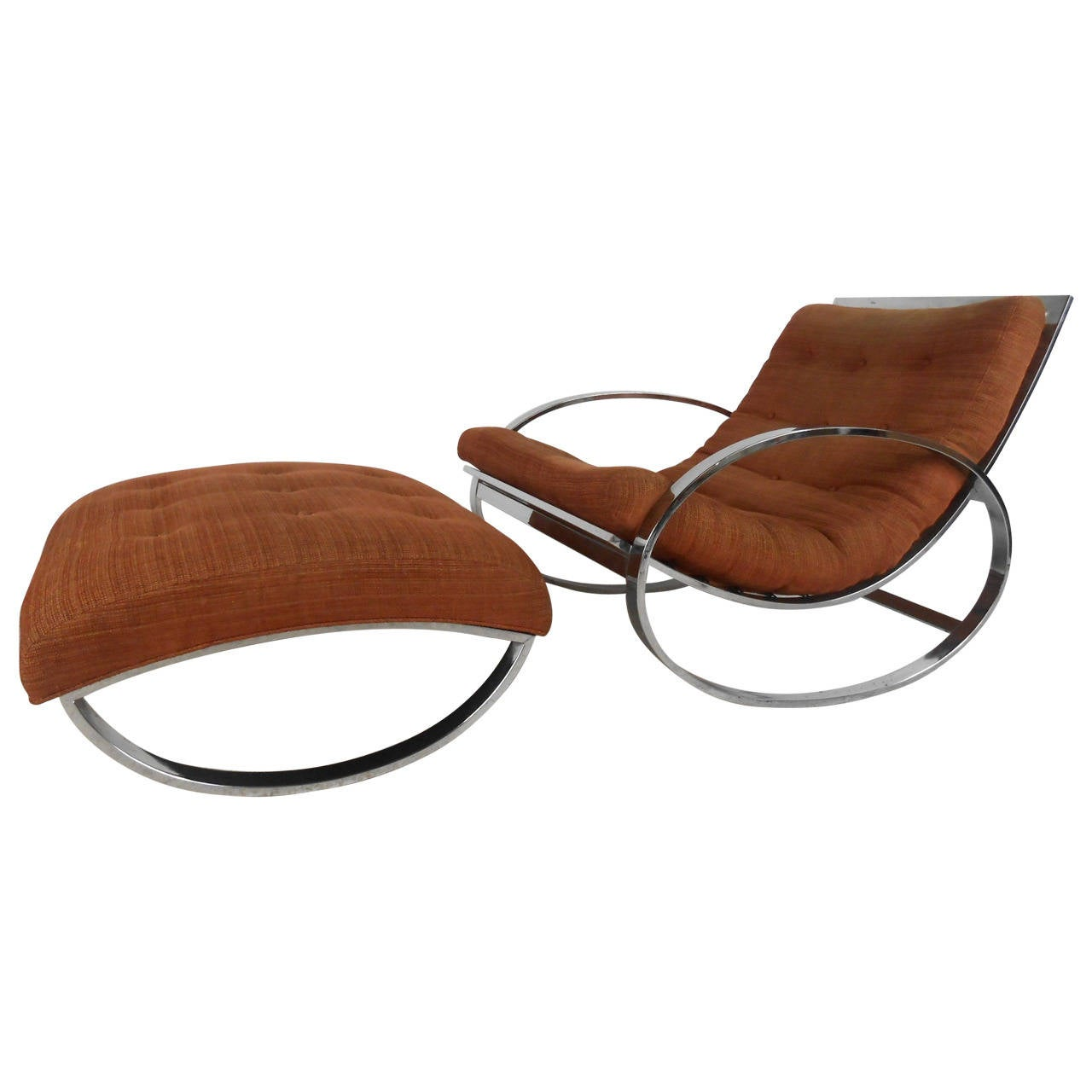 Milo Baughman Style Mid-Century Modern Renato Zevi Ellipse Chair and Ottoman For Sale