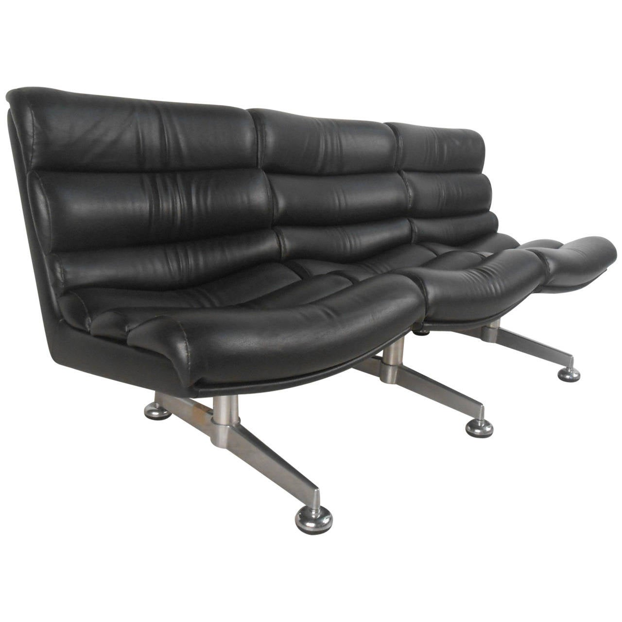 Unique mid century modern leather three seat airport style for Mid century modern leather sofa