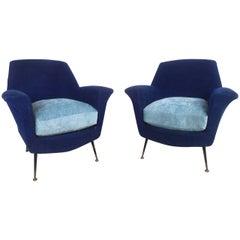 Pair Gio Ponti Style Lounge Chairs
