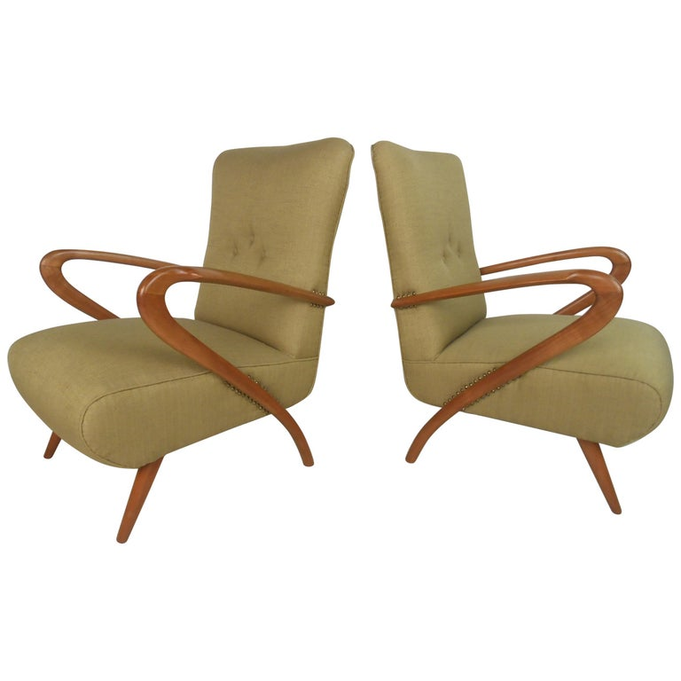 Pair of Mid-Century Modern Paolo Buffa Style Lounge Chairs For Sale