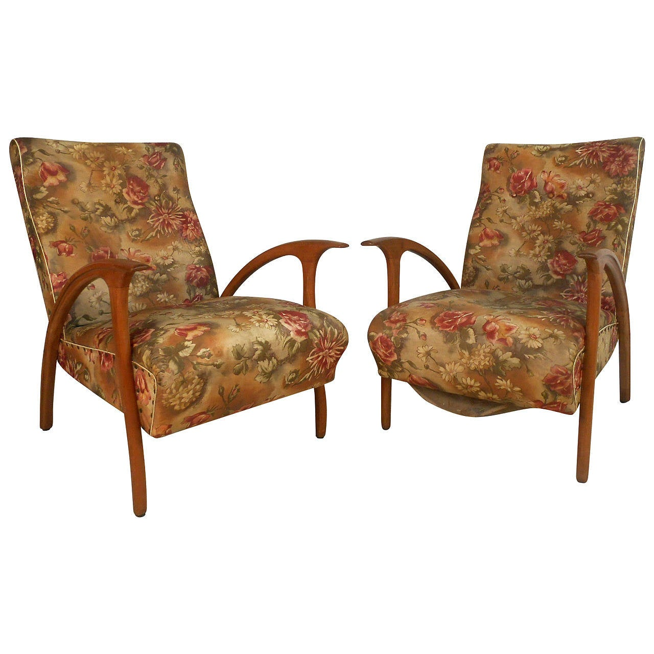 Unique Armchairs: Unique Pair Of Mid-Century Modern Paolo Buffa Style