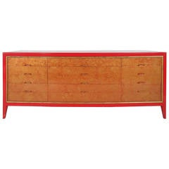 Mid-Century Modern Red and Gold Dresser