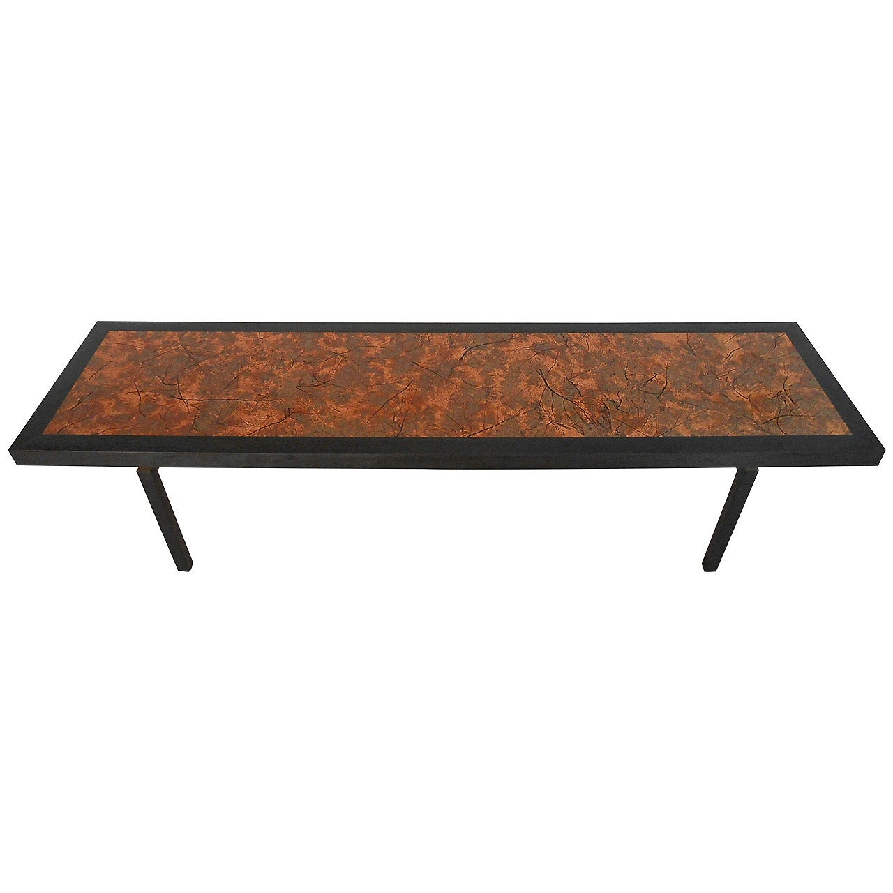 Vintage Modern Coffee Table with Hammered Copper Top