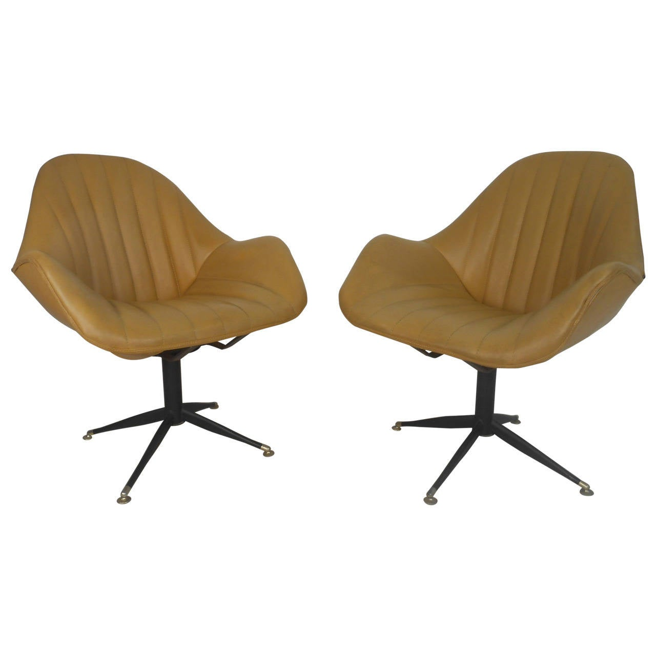Vintage Modern Swivel Lounge Chairs France & Sons