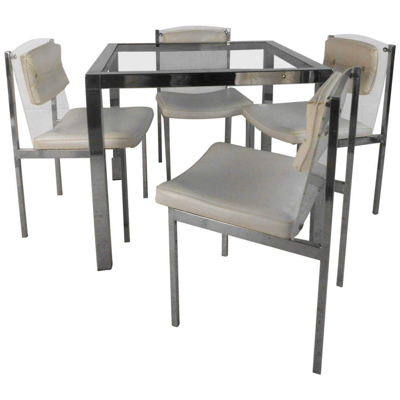 Mid Century Modern Chrome, Glass, And Lucite Dining Set Table With Chairs  For