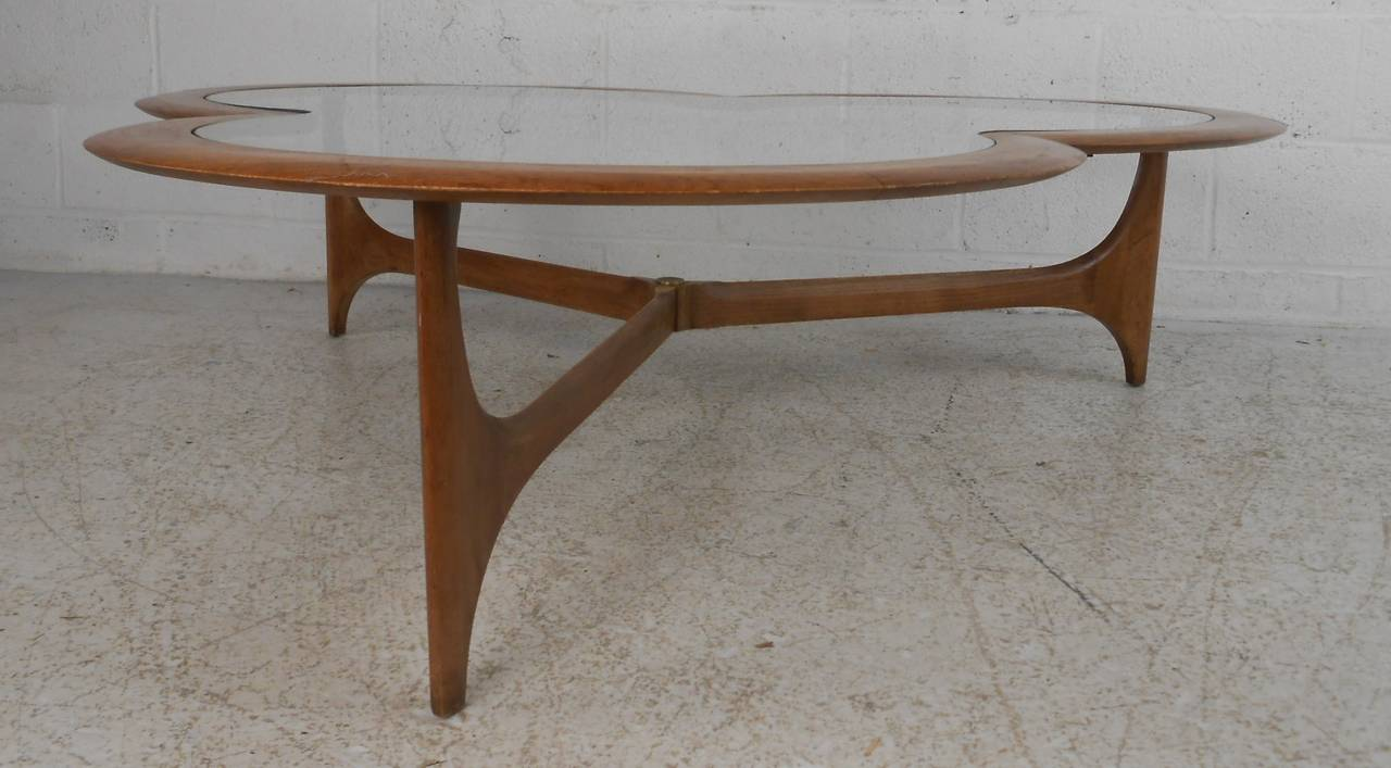 Wood Midcentury Clover Leaf Coffee Table by Lane For Sale