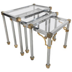 Midcentury Hollywood Regency Style Chrome and Brass Tables