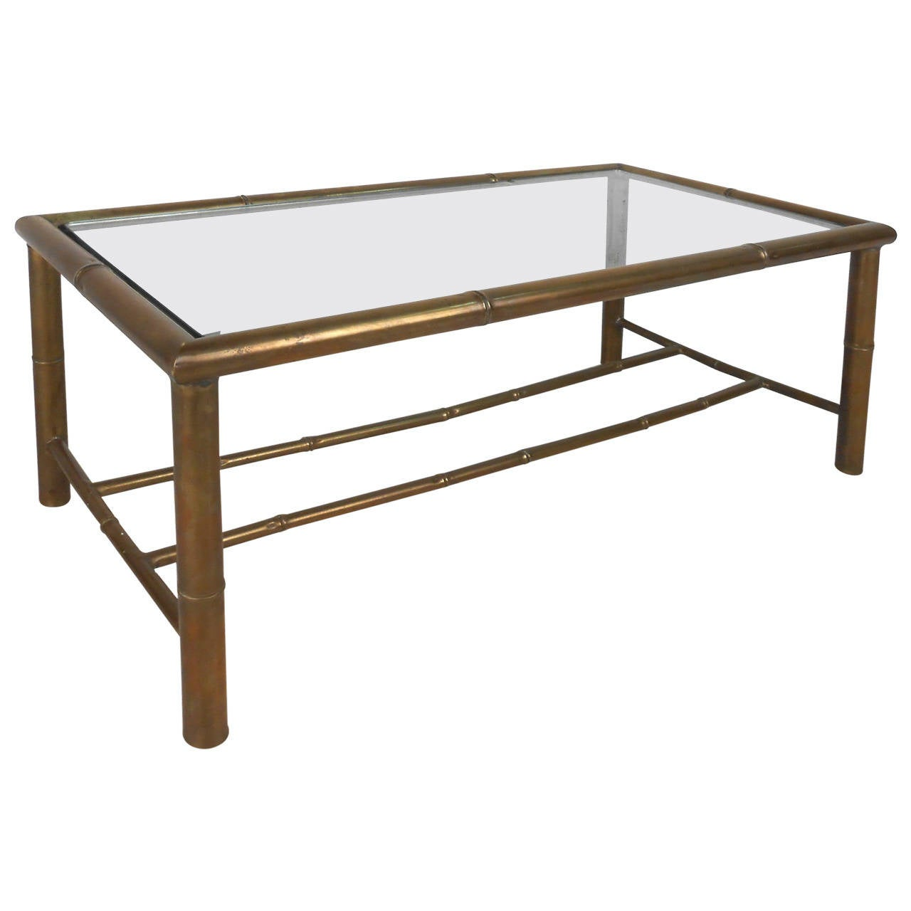 Hollywood Regency Style Mid-Century Modern Brass Faux Bamboo Table
