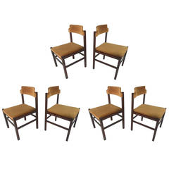 Set of Six Italian Rosewood Midcentury Chairs in Crushed Velvet