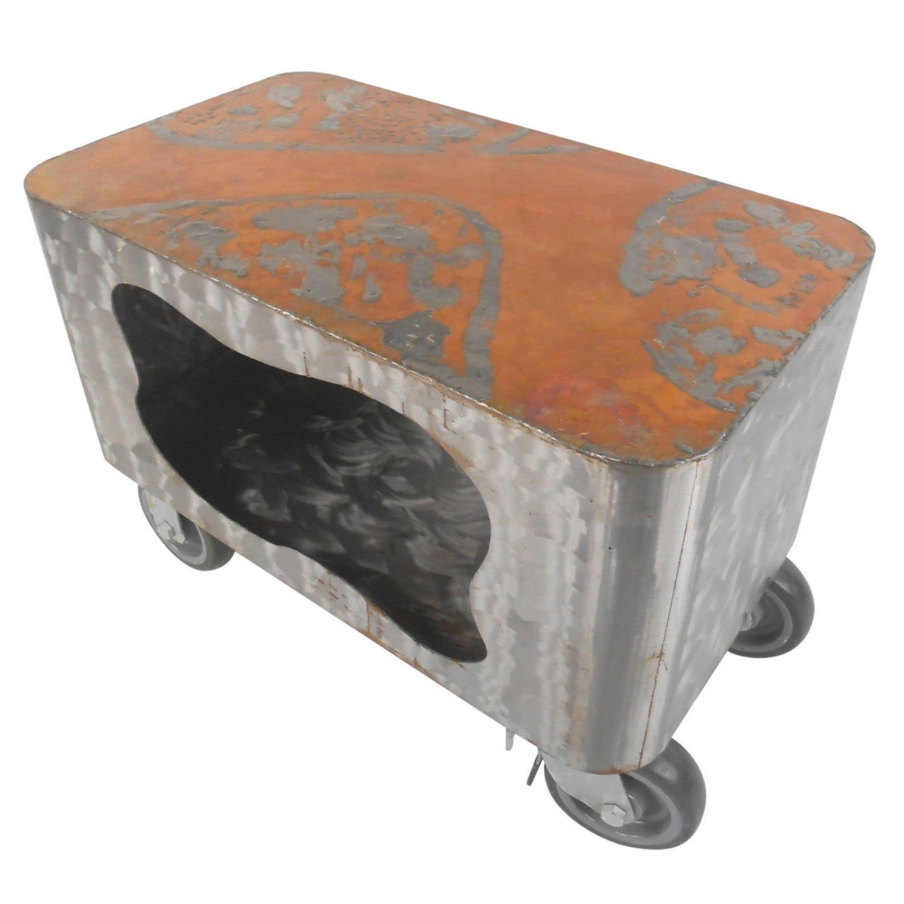 Wild Steel Coffee Table W Copper Top In Raw Paul Evans Style Finish For Sale At 1stdibs