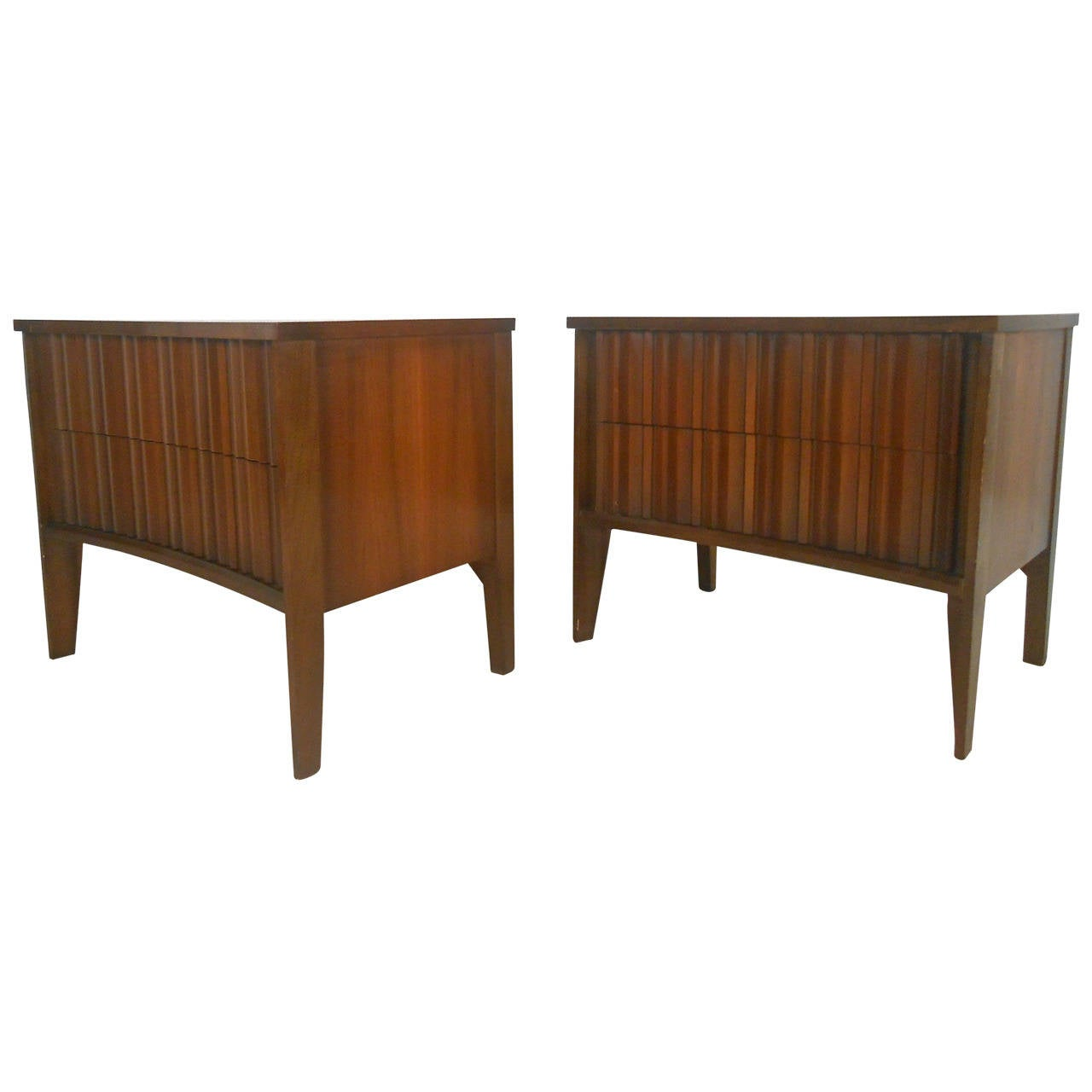 Mid Century Modern Curved Front Nightstands By Unagusta At