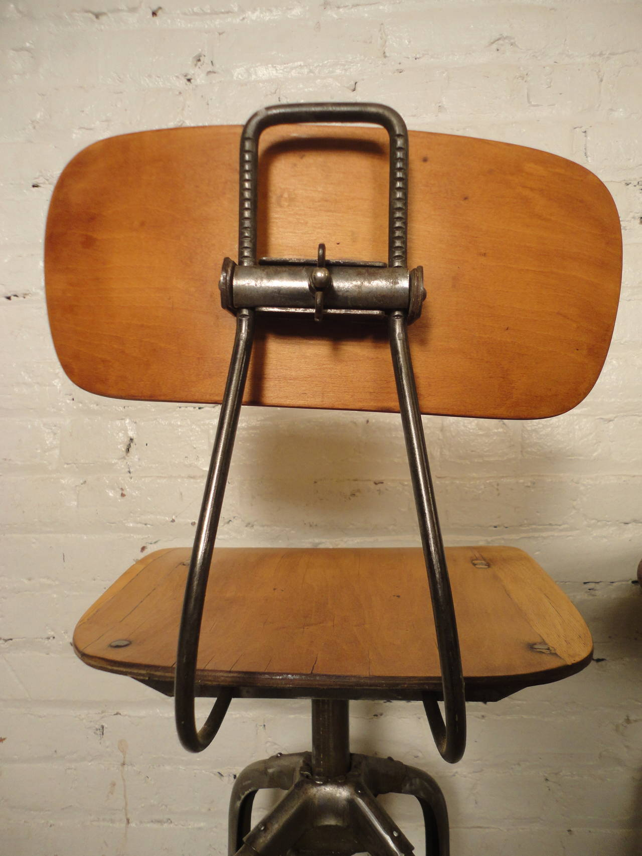 Pair Of Restored Vintage Toledo Factory Stools At 1stdibs