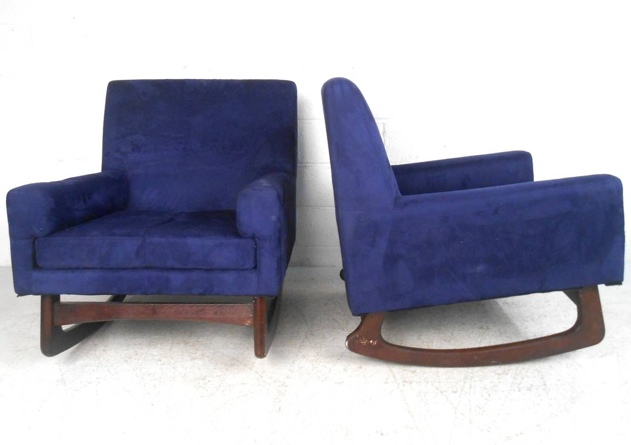 ... Pair Mid-Century Modern Suede Rocking Chairs For Sale at 1stdibs
