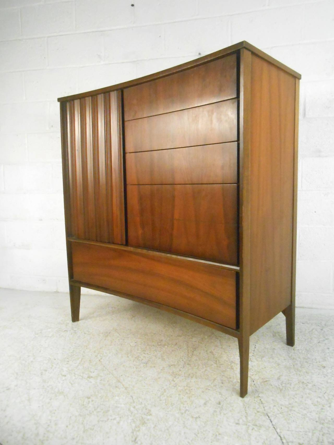 Mid Century Modern Curved Front Gentlemans Chest By